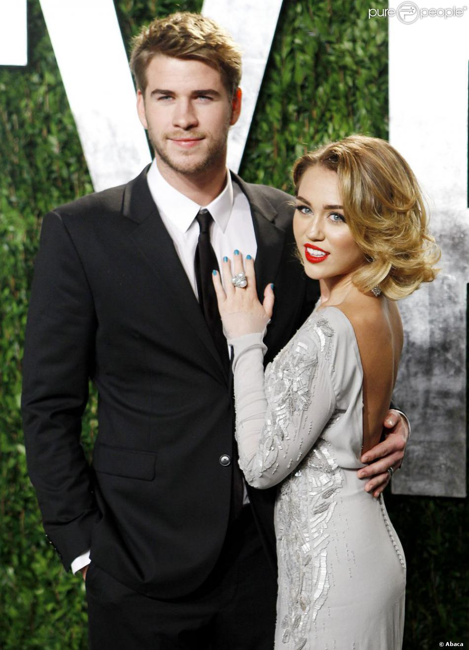 Miley Cyrus, Liam Hemsworth attending the 2012 Vanity Fair Oscar Party held at the Sunset Towers Hotel, West Hollywood, Los Angeles, CA, USA on February 26, 2012. Photo by Broadimage/ABACAPRESS.COM27/02/2012 - Los Angeles