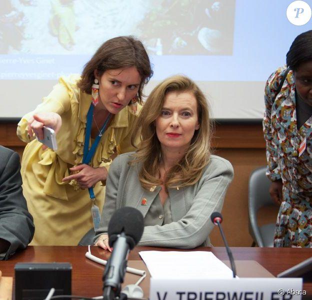 """Valérie Trierweiler est intervenue en tant que qu'ambassadrice de la Fondation France Libertés lors de la nouvelle session du Conseil des Droits de L'Homme à l'ONU afin de demander une résolution pour """"mettre fin à l'impunité"""" sur les viols en République démocratique du Congo. Le 30 mai 2013 à Genève."""