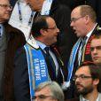 Le prince Albert II de Monaco a suivi en compagnie du président François Hollande la finale du Top 14 entre Toulon et Castres, le 1er juin 2013 au Stade de France.