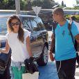 Exclusive - Kevin-Prince Boateng et sa compagne Melissa Satta quittent Ibiza en jet privé le 12 juin 2013.