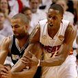 Mario Chalmers et Tony Parkerlors du match 7 des finales NBA à Miami, le 20 juin 2013.