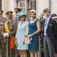 Le grand-duc Henri et la grande-duchesse Maria Teresa, le grand-duc héritier Guillaume et Stéphanie de Luxembourg célèbrent la fête nationale le 23 juin 2013.