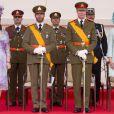 Le grand-duc Henri et la grande-duchesse Maria Teresa, le grand-duc héritier Guillaume et Stéphanie de Luxembourg durant la parade militaire lors de la fête nationale le 23 juin 2013.