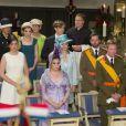 La princesse Alexandra, le grand-duc Guillaume et la princesse Stéphanie, la grande-duchesse Maria Teresa et le grand-duc Henri assistent au Te Deum interconfessionnel, à la cathédrale Notre-Dame de Luxembourg lors de la fête nationale le 23 juin 2013.