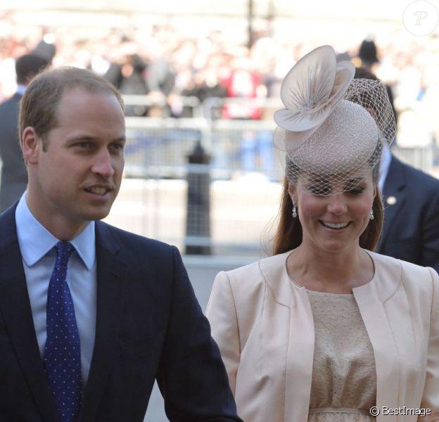 Kate Middleton et le prince William - 60e anniversaire du couronnement de la reine Elisabeth II d'Angleterre en l'abbaye de Westminster à Londres le 4 juin 2013.