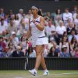 Marion Bartoli lors de sa victoire en demi-finale de Wimbledon face à Kirsten Flipkens au All England Lawn Tennis and Croquet Club de Londres, le 4 juillet 2013