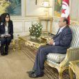 Exclusif - La Ministre de la Francophonie, Yamina Benguigui rencontre le President de la Republique tunisienne Moncef Marzouki le 19 novembre 2012 a Tunis. Yamina Benguigui est le Premier ministre tunisien Ali Larayedh et le ministre des Affaires étrangères Laurent Fabius