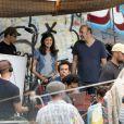 Le réalisateur Cédric Klapisch, Audrey Tautou et Romain Duris sur le tournage de Casse-tête chinois à New York le 20 septembre 2012