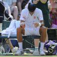 Novak Djokovic lors de sa défaite en finale de Wimbledon face à Andy Murray (6-4, 7-5, 6-4), au All England Lawn Tennis and Croquet Club de Londres le 7 juillet 2013
