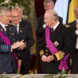 Le prince Philippe et le roi Albert II de Belgique - Cérémonie d'abdication du roi Albert II de Belgique au palais de Bruxelles, le 21 juillet 2013.