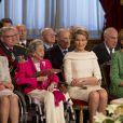 La reine Fabiola, la princesse Mathilde et la reine Paola de Belgique - Cérémonie d'abdication du roi Albert II de Belgique au palais de Bruxelles, le 21 juillet 2013.