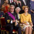 Le prince Laurent et la princesse Claire - Cérémonie d'abdication du roi Albert II de Belgique au palais de Bruxelles, le 21 juillet 2013.