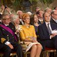 Le prince Laurent et la princesse Claire de Belgique - Cérémonie d'abdication du roi Albert II de Belgique au palais de Bruxelles, le 21 juillet 2013.
