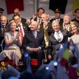 Le roi Albert II de Belgique, la reine Paola, le prince Philippe et la princesse Mathilde ont assisté au bal national à Bruxelles, le 20 juillet 2013.