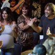Penélope Cruz, très enceinte, et Javier Bardem lors d'un show au Price Circus Theater à Madrid le 20 juillet 2013