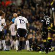 Fabrice Muamba victime d'un arrêt cardiaque lors du match entre Tottenham et Bolton le 17 mars 2012 à Londres