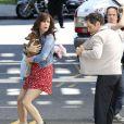 Kristen Wiig et Ben Stiller sur le tournage du film La vie rêvée de Walter Mitty à New York (Harlem), le 27 mai 2013.