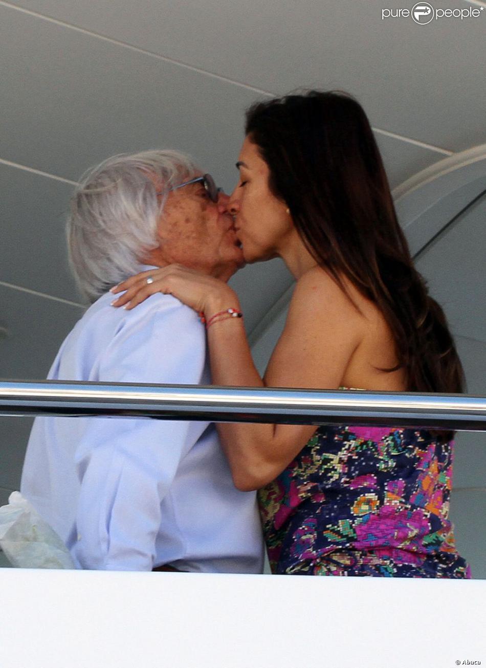 Bernie Ecclestone et sa très jeune épouse Fabiana Flosi, amoureux à Trogir en Croatie le 1er août 2013