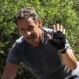 Nicolas Sarkozy pendant ses vacances au Cap Nègre près de Cavalaire, le 3 août 2013.