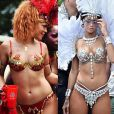 Rihanna, ultra sexy lors la parade du festival Crop Over (en 2012 à gauche, en 2013 à droite) à la Barbade. Le 5 août 2013.