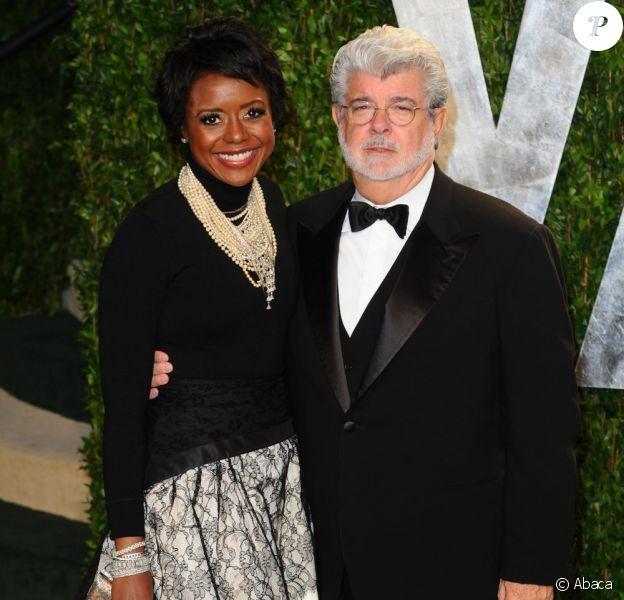 George Lucas et Mellody Hobson lors de la Vanity Fair Oscar Party 2012 à Los Angeles, le 26 février.