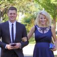 Michael Bublé et son épouse Luisana Lopilato, enceinte, vont au mariage d'un couple d'amis à Vancouver le 12 août 2013.