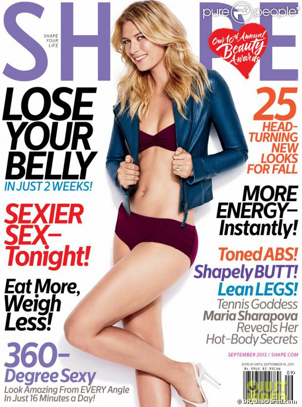 Maria Sharapova en couverture du magazine Shape - septembre 2013
