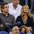 Ben Stiller, qui a à côté de lui Sean Connery et devant lui Richard Branson, avec son épouse Christine Taylor dans les gradins du court Arthur-Ashe pour la demi-finale Nadal-Gasquet de l'US Open 2013. Rafael Nadal a privé Richard Gasquet de finale à l'US Open en le battant (6-4, 7-6, 6-2) à New York le 7 septembre 2013.