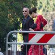 Eros Ramazzotti et Marika Pellegrinelli lors du mariage de l'ancien dirigeant du PSG Leonardo avec Anna Billo à Osnago en Italie, le 7 septembre 2013