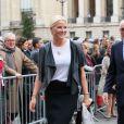 La princesse Mette-Marit de Norvège au Grand Palais à Paris le 11 septembre 2013 pour l'inauguration de la biennale d'arts créatifs, Révélations, en présence du ministre des Affaires Etrangères Laurent Fabius.