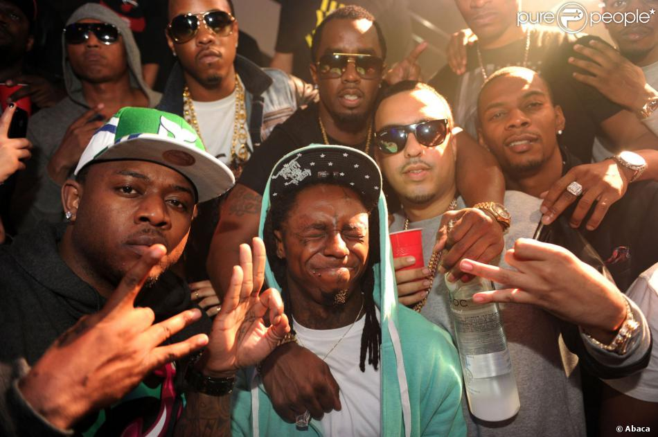 Mack Maine, Lil Wayne, Diddy et French Montana à Miami en novembre 2012.