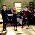 Lea Michele, Demi Lovato, Chris Colfer, Naya Rivera et Adam Lambert sur le tournage de la 5e saison de Glee.