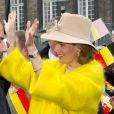 Joyeuse entrée du roi Philippe de Belgique et de la reine Mathilde à Liège le 11 octobre 2013. Le manteau jaune poussin de la reine a fait piailler !