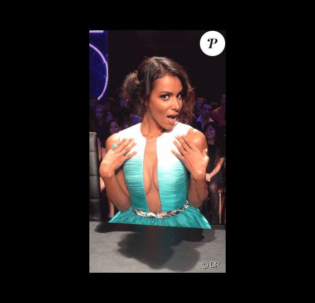 Shy'm dans une superbe robe Léonard sur le plateau de Danse avec les stars 4 le samedi 19 octobre 2014 sur TF1
