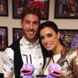 Sergio Ramos et Pilar Rubio après leur passage sur Antena 3, le 21 octobre 2013.