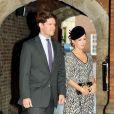 Emilia Jardine-Paterson (marraine) et son mari David au baptême du prince George de Cambridge, premier enfant du prince William et de Kate Middleton, en la chapelle royale du palais Saint James, à Londres, le 23 octobre 2013.