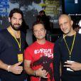 Nikola Karabatic, David Hallyday et Rim'K lors de la soirée de lancement de  Call of Duty : Ghosts  (disponible le 5 novembre 2013) le 4 novembre 2013 au Yoyo, au Palais de Tokyo, à Paris.