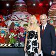 Gwyneth Paltrow et Paolo de Cesare (patron du Printemps)inaugurent les vitrines de Noël du Printemps Haussmann décorées cette année en partenariat avec la maison Prada. Paris, le 07 novembre 2013.