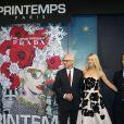 Gwyneth Paltrow et Paolo de Cesare (patron du Printemps) inaugurentles vitrines de Noël du Printemps Haussmann décorées cette année en partenariat avec la maison Prada. Paris, le 07 novembre 2013.