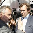 Jack Lang, Luc Besson et Christophe Lambert lors de la conférence de presse de l'inauguration de la Cité du cinéma le 21 septembre 2012 à Saint-Denis en Ile-de-France