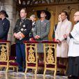 La princesse Charlene, le prince Albert II, la princesse Caroline de Hanovre et la princesse Stéphanie de Monaco lors de la célébration de la Messe d'action de grâce et du Te Deum à la Cathédrale de Monaco à l'occasion de la fête nationale, le 19 novembre 2013