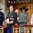 Le prince Albert II, la princesse Caroline de Hanovre et la princesse Stéphanie de Monaco lors de la célébration de la Messe d'action de grâce et du Te Deum à la Cathédrale de Monaco à l'occasion de la fête nationale, le 19 novembre 2013