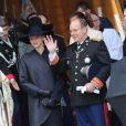 La princesse Caroline de Hanovre, la princesse Stéphanie, la princesse Charlene et le prince Albert II de Monaco ainsi que Pierre Casiraghi et la princesse Alexandra à la sortie de la Cathédrale de Monaco le 19 novembre 2013 à l'occasion de la fête nationale