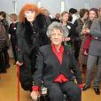 Sonia Rykiel et Antoinette Fouque lors de la présentation du Dictionnaire universel des créatrices au siège de l'Unesco à Paris, le 22 novembre 2013