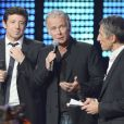Patrick Bruel, Franck Dubosc et Nagui lors de la soirée spéciale Téléthon sur France 2, le samedi 7 décembre 2013.