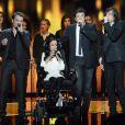Bénabar, Patrick Bruel, Cali et Marina Russo lors de la soirée spéciale Téléthon sur France 2, le samedi 7 décembre 2013.