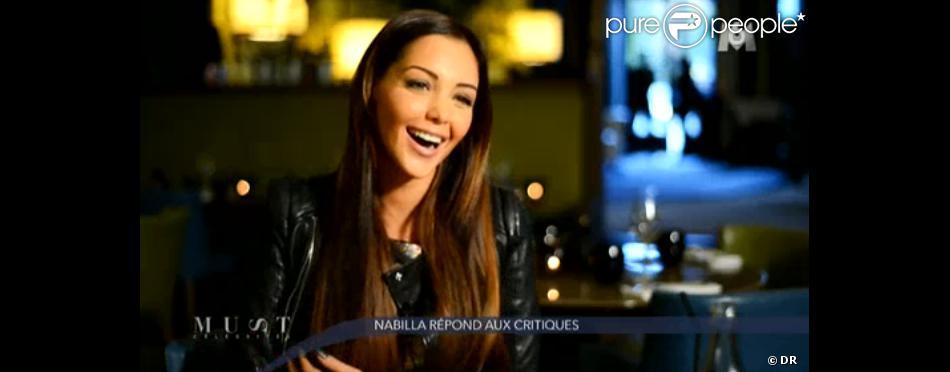 Nabilla Benattia de Hollywood Girls et Les Anges de la Télé-Réalité, en interview dans Must Célébrités, le samedi 7 décembre sur M6.