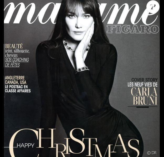 Carla Bruni en couverture du magazine Madame Figaro en kiosques le 13 décembre 2013