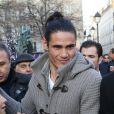 Exclusif - Edinson Cavani à la sortie du restaurant La Société à Paris, le 12 décembre 2013 à l'occasion d'un déjeuner organisé avec toute l'équipe par le président du PSG Nasser Al-Khelaïfi