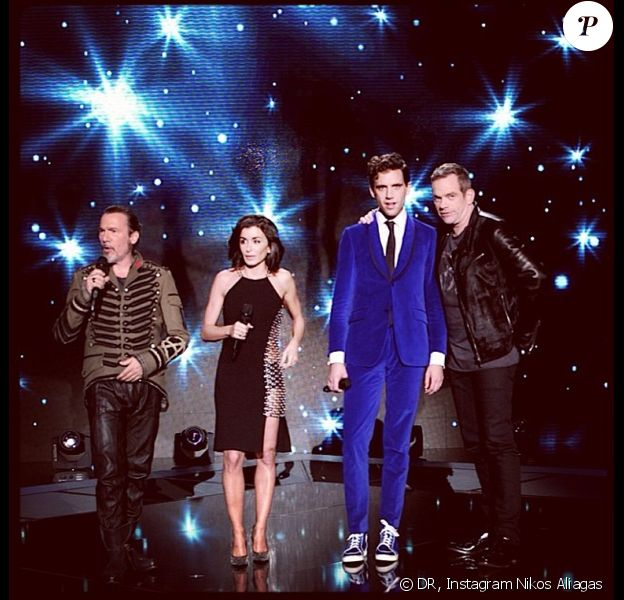 Photo des coachs de The Voice 3 de Nikos Aliagas : Florent Pagny, Jenifer, Mika et Garou
